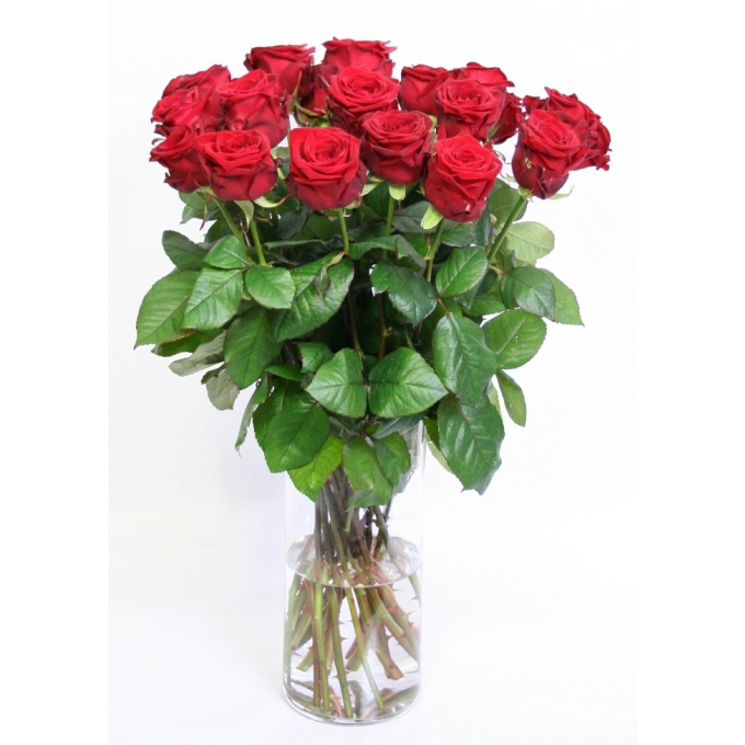 Bouquet of long red Roses big heads