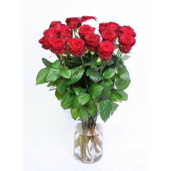 Bouquet red Roses big heads for the birthday of 60 cm
