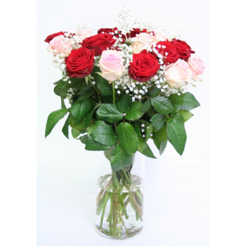 Bouquet of 10 red Roses and 10 pink Roses big heads