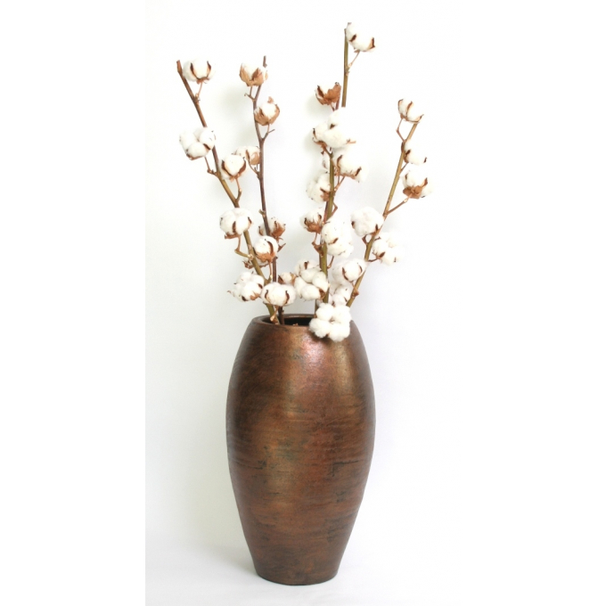 5 Cotton branches with 7 balls per stem in a Palma vase